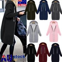 Plus Size Winter Womens Zip Up Long Hooded Hoodie Ladies Warm Coat Top Jacket