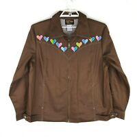 Bob Mackie Wearable Art Brown Embroidered HEARTS Zip Up Jacket, Women's 1X