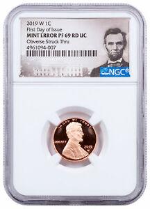 2019 W Proof Lincoln Cent Obverse Struck Thru Mint Error NGC PF69 FDI SKU64407