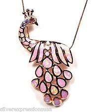 18K rosa placcato oro argento 925 opale di fuoco pavone collana con ciondolo