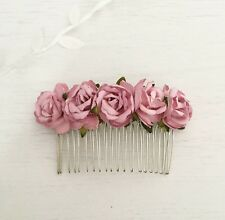 Vintage Pink Paper Rose Vintage Hair Comb - Flower Girl - Bride - Bridesmaid