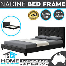 Queen Size Bed Frame Black Faux PU Leather Wooden Slats Base