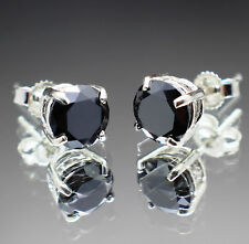 1.98tcw Natural Black Diamond Stud Earrings, Certified AAA Grade & $1155 Value