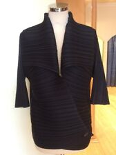 Joseph Ribkoff Jacket Size L BNWT Black Pleated Wrap Over RRP £218 Now £98