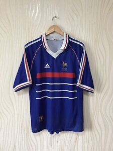 FRANCE 1998 HOME FOOTBALL SOCCER SHIRT JERSEY MAILLOT ORIGINAL ADIDAS BLUE