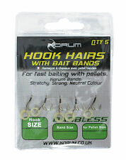 Korum Barbless Hook Hairs with Bait Bands Size 10/12/14/16 Carp Fishing Tackle