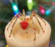 GOLD & RED CHRISTMAS BEADED SPIDER ORNAMENT