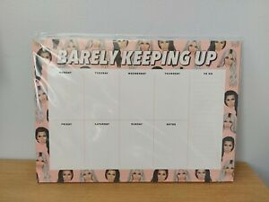 """Kardashians A4 Weekly Planner Note Pad Pages Homework Meals """"Barely Keeping Up"""""""