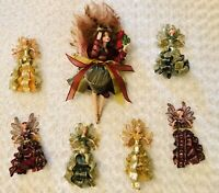 "Set Of 7 Embelished Vinyl And Cloth Decorative Fairies Pixies Elves 9""-17"""