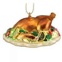 Gisela Graham Painted Glass Turkey Dinner - Hanging Christmas Tree Decoration