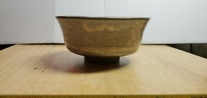 Japanese Tea Bowl Dark Brown Clay Grey Glaze