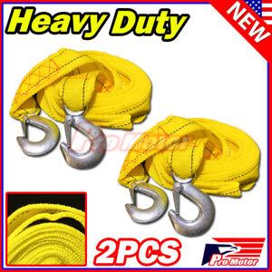 """2 x 13FT (2"""" X 10') Yellow Rope Heavy Duty Tow Strap Hooks 10K Lb 5 Ton Capacity"""