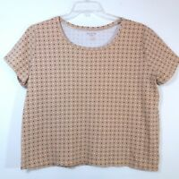 White Stag Womens Size XXL Pullover Top Blouse Short Sleeve Brown Polka Dot