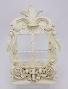Composite 3D Antique Style Double White Dimmer Light Switch Plate Fleur de Lis