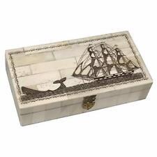 """Schooner Bay Co. 6-1/4"""" Engraved 1830""""Whale Chase Vintage Scrimshaw Bone Box Ant"""
