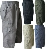 MENS NEW PLAIN SUMMER ELASTICATED WAIST 3/4 SHORTS COTTON CARGO COMBAT PANTS