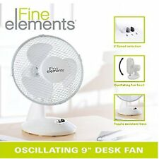 "9"" Desk Table Fan Round Compact Cool Office Home Portable Oscillating Electric"