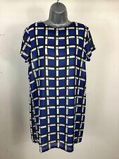 48b495b08298 WOMEN'S BOOHOO BLUE BLACK WHITE PATTERNED SHORT SLEEVE MESH DRESS SIZE UK 12