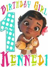 Baby Moana Disney Birthday Party t Shirt Iron On Transfer Personalized Appliqué