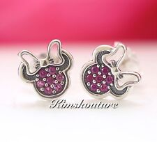 Authentic Pandora Disney, Minnie Silver Stud Earrings with Red CZ 290580CZR