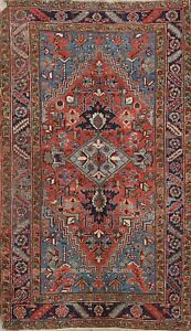 Antique Heriz Serapi Vegetable Dye Geometric Area Rug Handmade WOOL 4x6 Carpet