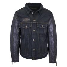 Harley-Davidson Men's Denim & Leather Sleeve Button Up Jacket (Retail $225) S03