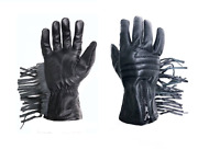 Motorcycle Gauntlet Fringe Zip Gloves Black Leather Men's XS S M L XL XXL Summer
