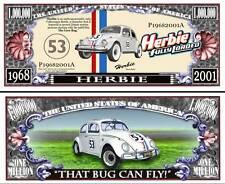 Herbie Love Bug Million Dollar Bill Fake Funny Money Novelty Note FREE SLEEVE