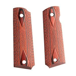 1911 checkered Red Diamond Wood Grips