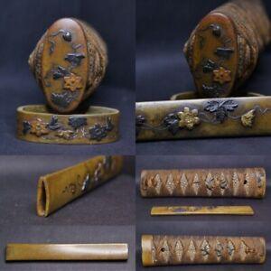 WAKIZASHI tsuka, flower FK, sh-shi menuki, different metals inlays + KOZUKA