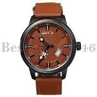 Luxury Men's Military Leather Date Calendar Waterproof Quartz Analog Wrist Watch