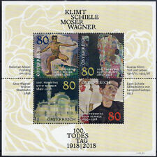 "2018 ""Austria"" Painters, Artists, Schiele, Klimt, Wagner, Moser, Sheet VF/MNH!"