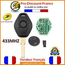 Clé Vierge Complète 433MHZ ID44 PCF7935 Pour BMW + Lame Vierge Coque HU58 Pile