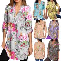 Women Ladies Floral Print Casual Loose Long Sleeve Blouse Tops T-Shirt Plus G#