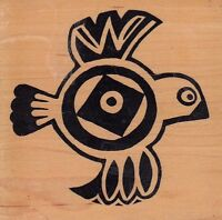"""aztec bird psx Wood Mounted Rubber Stamp 3x 3""""  Free Shipping"""