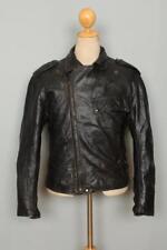 Vtg 60s BROOKS Gold Label PJ-27 Steerhide Leather Motorcycle Jacket S/M