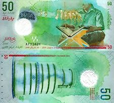 MALDIVES 50 Rufiyaa Banknote World Money UNC Currency Pick p-New 2015 Polymer