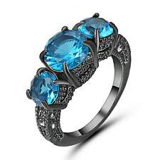 Size 9 Blue Aquamarine Wedding Band Ring 10KT Black Gold Filled Jewelry