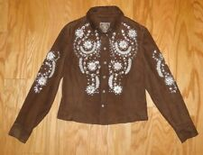 Double D Ranch Leather Buttonup Shirt Size XS Brown Embroidered Sequins Crystals