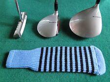 Knitted zebra style Fairway & Driver Golf Club head cover Light Blue / Black