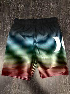 Hurley Boys Swimming Suit Board Shorts Black Multicolored Sz 7/8