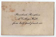 1900s WELLESLEY COLLEGE President Reception INVITE Caroline Hazard MASSACHUSETTS