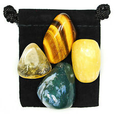 DEPRESSION RELIEF Tumbled Crystal Healing Set = 4 Stones + Pouch + Description