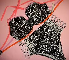 Victoria's Secret 36DD BIKINI L high-waist Black White PEBBLE dot zebra strappy