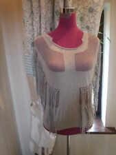 Amazing All Saints Flamante Knitted Fringe Top Oatmeal Size 10 VGC