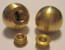 """(Lot of 2) 1"""" Brass Ball Finials (Unfinished Brass)  w/Shoulder Reducer"""