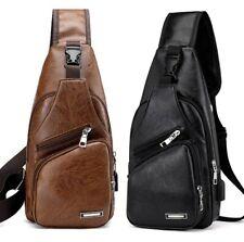 Men's Leather Sling Chest Pack Cross Body Shoulder USB Charging Port Sport Bag