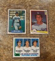 (3) Steve Sax 1982 Topps Fleer Donruss Rookie Card Lot Dodgers RC