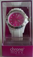 Neu chrono maxx multicolor Uhr DAU HAU  weiß trendige Silikonuhr ZB pink