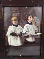 Antique Ullman Victorian Photo Color Litho Print Choir Boys 568 Orig Wood Frame
